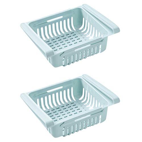Einstellbare Lagerregal Kühlschrank Partition Layer Organizer, ausziehbare Kühlschrank Schublade Organizer, Kühlschrank Aufbewahrungsbox (2PC, Blau)