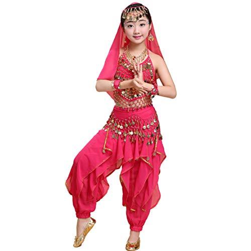 Gaga city 4 PCS Ragazze Costume Danza del Ventre Bambina/Donna Danza Orientale Belly Dance Top + Pantaloni + Catena in Vita + Velo per Copricapo