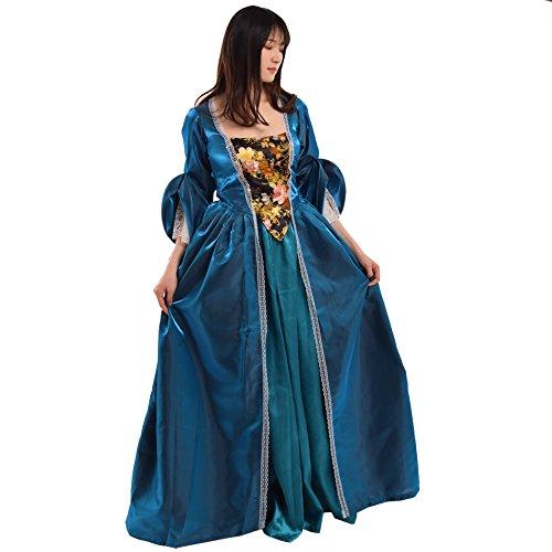 BLESSUME Vendimia victoriano Barroco Vestido Misses Colonial Rococó XVIII Siglo Medieval Mujer Disfraz Vestido (XL, Verde)