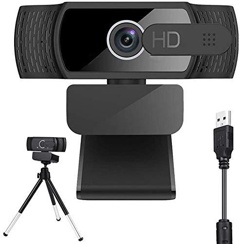 VIVIOO HD 1080P Webcam mit Mikrofon und Stativ, PC Laptop Desktop USB 2.0 Full HD Webkamera für Video Chat und Aufnahme, Studieren, Konferenzen, Full HD 1080P Webcam für Windows, Mac und Android