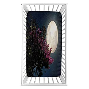 """Lyzelre Moon Fitted Crib Sheet,Cherry Blossom with Stars from Milky Way Night Sky Full Moon Microfiber Silky Soft Toddler Mattress Sheet Fitted,28″x 52″x 8"""",Baby Sheet for Boys Girls"""