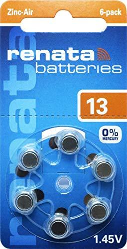 10 Packs (60 Batteries) Renata Swiss Made Size 13 Batteries