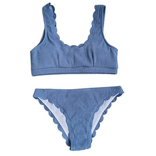 KunmniZ Mujeres Sexy Bikini Set Acanalado Push up Swimsuit musselkarte Traje de baño conspicuo Traje de baño ecológico para Las Rayas de Vacaciones Playa de