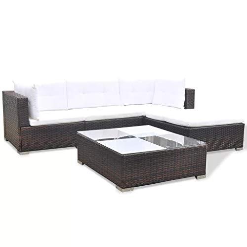 Juego de 5 sofás de jardín de polirratán marrón con cojines para exteriores, resistente a los rayos UV, impermeable, polirratán + estructura de acero barnizado en polvo