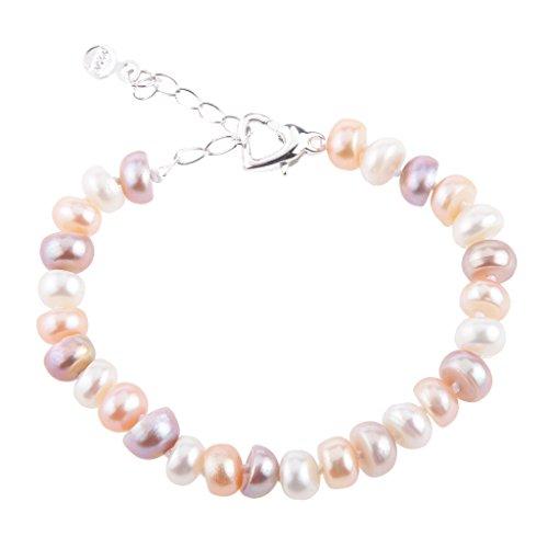 Colcolo Pulsera de Perlas de Agua Dulce Natural Colorida, Brazalete, Joyería de Moda para Mujer