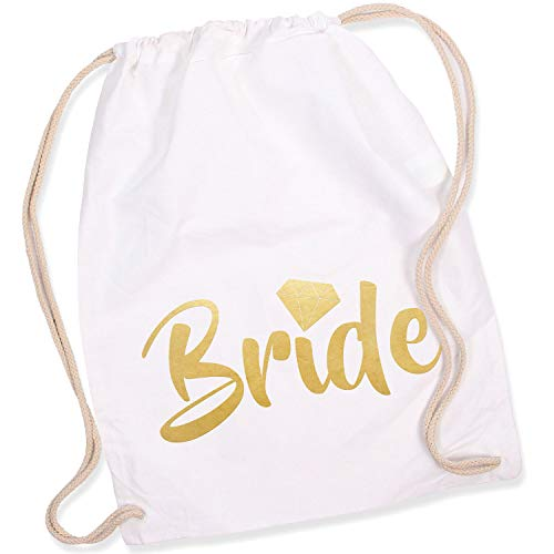 Shirt-Panda Turnbeutel JGA Team Bride/Team Bride mit Diamant Junggesellinnenabschied Team-Braut Tasche Rucksack Bride - Weiß (Druck Gold)