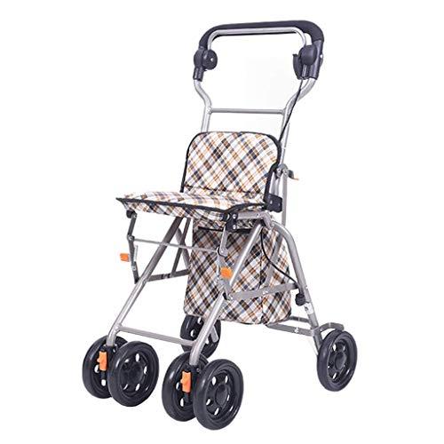 CAIyi Shopping Trolleys Winkelwagen Oude Man Trolley Vouwen Rolstoel Kan Een Wandelen Hulp Huishoudelijke Kruidenier Winkelwagen Vierwielige Voertuig Kan Bear 80 Kg 33 * 52 * 85cm BRON