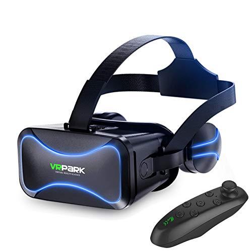 xingdong Auriculares de realidad virtual, gafas 3D, auriculares estéreo de 360°, con mando a distancia VR Games 3D compatible con Android/PC