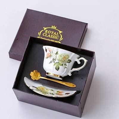 ZSSGSHR Boreal Europe Style Thone China Porcelana Taza de café Pastoral Blanco Rosa Inglés Treado Teacup y platillo Conjunto Caja de Regalo (Color : Gift Box 1)