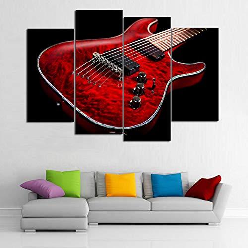ZXCVWY 4 Stuks Hd Rode Gitaar Muziek Poster 4 Panelen Prints Muur Art 3 Canvas Schilderen Geen Frame Voor Woonkamer