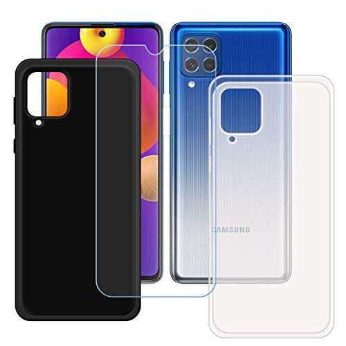 YZKJSZ Funda para Samsung Galaxy F62 + Protector de Pantalla Cristal Templado Film Película,Suave Silicona Semi-Trasparente + Negro Carcasa TPU Caso Case para Samsung Galaxy F62 (6.7')