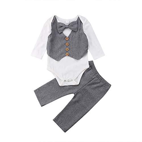Carolilly Bimbo Neonato Completini e Coordinati Gentiluomo Invernale 3 Pezzi Pagliaccetto Bianco Maniche Lunghe con Fiocco+Pantaloni Suit Formali