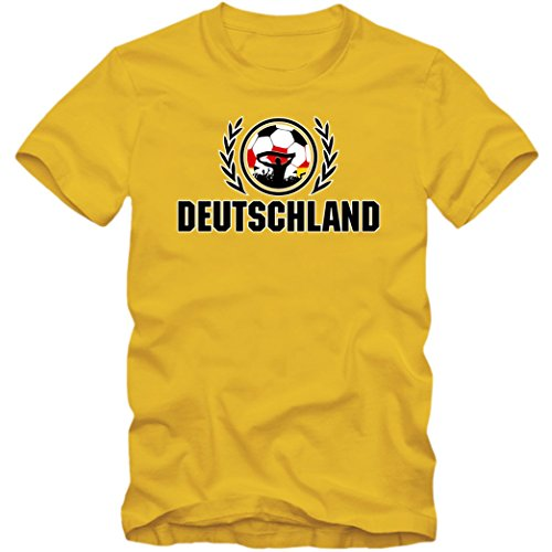 Deutschland WM 2018#2 T-Shirt   Herren  Trikot   Nationalmannschaft   S-5XL, Farbe:Gelb (Gold L190);Größe:5XL