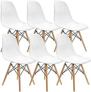 Muebles Lot de 6 chaises de salle à manger modernes en plastique avec pieds en bois pour salle à manger, chambre à couche...