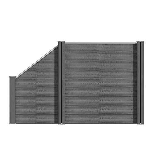 S SIENOC WPC Zaun WPC-Zaun Bildschirm-Zaun Garten Zaun Terrace (10x Element + 11x Pfosten + 1x Schrägelement, Grau 180cm)