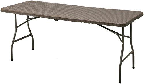 タカショー(Takasho) イージーキャリー ダイニングテーブル ラタン調 ブラウン ECF-T01BR 幅180×奥行76×高さ73cm