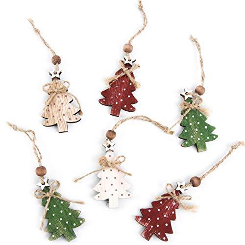 Logbuch-Verlag 6 kleine Weihnachtsbäume Anhänger Baumschmuck Baumbehang Baum Geschenkanhänger Weihnachten Holz rot grün Natur Weihnachtsdeko gepunktet