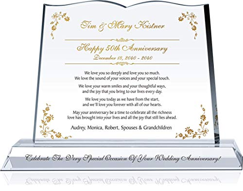 """Personalized Crystal Gift Plaque for Parents 50th Wedding Anniversary, Customized with Couple's Name, Anniversary Date, Unique Gift for Golden Anniversary for Couple (M - 10"""")"""