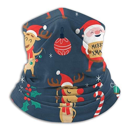 AEMAPE Weihnachtsmann Elch Weihnachtsbaum Unisex Fleece Winddicht Halswärmer Gesicht Wärmer Hals Tube Hals Hals Schal Hals Gamaschen Stirnband Bandana Schwarz
