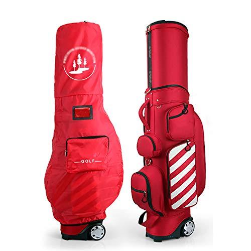 SHX Golftasche, Trolleytasche, Deluxe Reisetasche Golftasche Mit Rollen, Leichte Strapazierfähige Regenhaube Golftasche,Rot