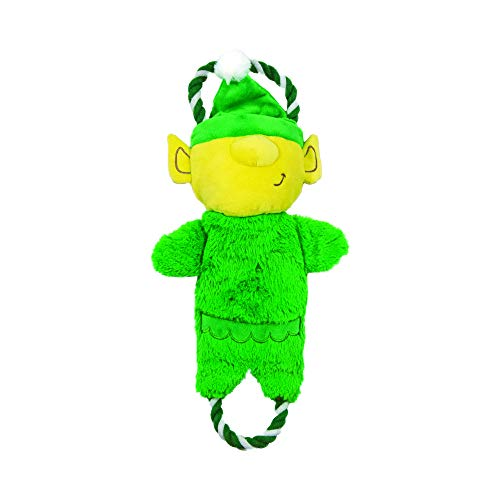 Charming Pet Rip 'EMS Holiday Elf Durable Plush and Rope Tug Dog Toy - Makes Ripping Sound When Tugged