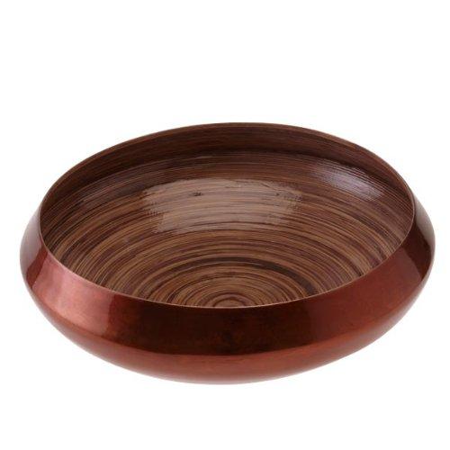 Bois de manguier laqué, bol bambou/bronze