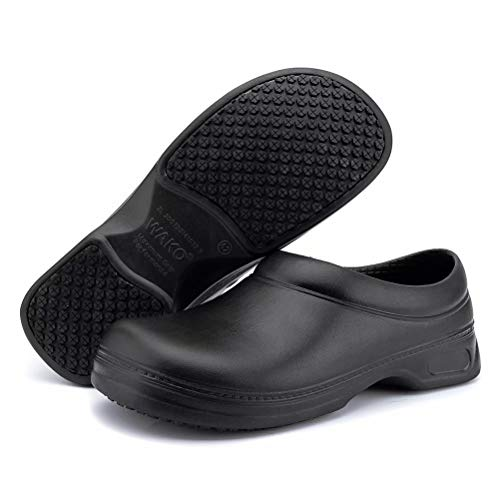 Women's and Men's Slip Resistant Work Shoes Comfort Slip on Chef or Nursing Shoes, Black, 9.5...
