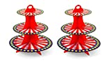 iFavor123 Carnival Circus Red White Stripes Magic Show Popcorn Movie Theme Party Supplies Birthday Parties Baby Showers Movie Nights Sleepover Parties Treat Table Goodies (2pc Cupcake Stands)