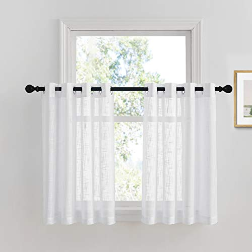 PONY DANCE Kitchen Curtains 36 - Sheers Linen Look Voile Drapes Privacy Protect Light Filter Grommet Valance Tiers Elegant for Small Window Bathroom, 52 W x 36 L, White, Pack-2
