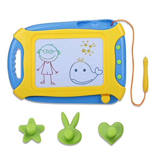 Preyda Magnetic-Drawing-Board, Gift for Grandson & Granddaughter, Non Toxic Etch a Sketch Toddler Travel Toys for Kids Children with 1 Pen and 3 Stamps