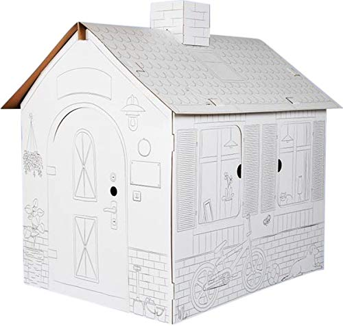 Spielhaus aus Karton für Kinder zum Ausmalen – XL-Größe, Spielhaus aus stabilem und langlebigem Karton.