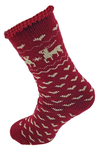 Damen Thermo Socken Elch superflauschig Kuschelsocken Bettsocken Hüttensocken 35-38 Rot