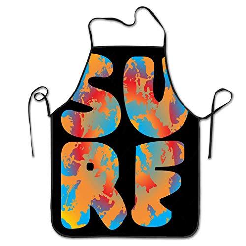 qidushop Professinal Kochschürze, für Damen, Surf-Typpographie, Vintage-Logo, Surf-Funktion, modischer Druck, Sportkleidung, Symbol, Sommer, Hawaii, Strand, Küche, Restaurant, Zuhause, Unisex