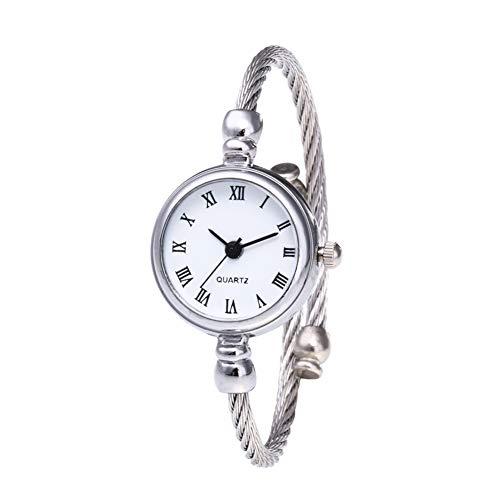 1pcs Art Und Weise Frauen-Silberne Kabel Weiß Dial -Armband-Uhr Metallband-stulpe-Armband-Uhr Für Mädchen-Frauen-römische Ziffern