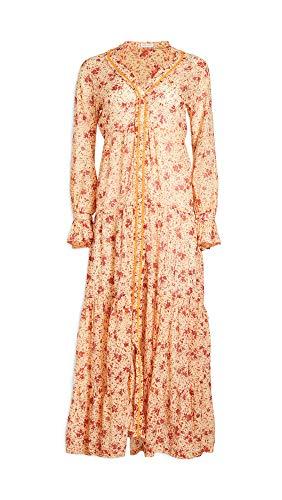 Poupette St Barth Women's Rita Long Dress, Yellow Watercolor, Large