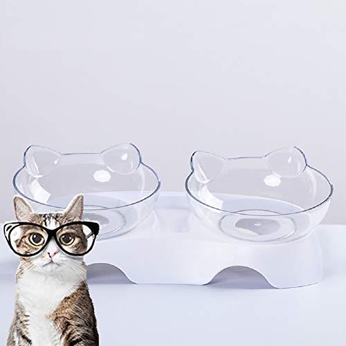 MOLOVET ペット食器 ペットダブルボウル 給餌ボウル フードボウル ウォーターボウル 餌入れ 水入れ 15度傾斜 食べやすい餌台 食器 スタンド 透明 猫 小型犬
