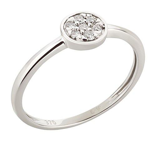 Ardeo Aurum Damenring aus 375 Gold Weißgold mit 0,1 ct Diamant Brillant Solitär-Ring Verlobungsring Solitaire