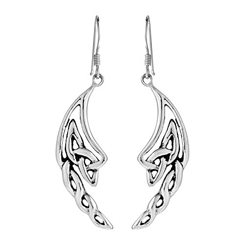 Alluring Celtic Knotted Angel Wings .925 Sterling Silver Dangle Earrings
