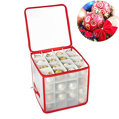 Christmas Bauble Storage Bag| Sturdy 4 Layered Box, Holds up to 64 Baubles, Xmas Tree Ornaments & Decorations Storage Container
