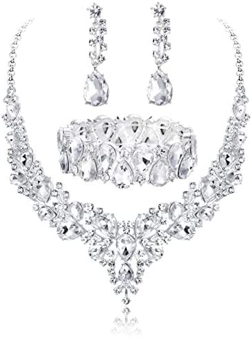 Udalyn Crystal Bridal Jewelry Sets for Women Necklace Earrings Bracelet Set for Wedding Rhinestone Bridesmaid Gifts fit with Wedding Dress