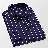 XJJZS Camisas a rayas de algodón de otoño para hombre Camisa de manga larga delgada Casual (Color : D, Size : Asian size L)