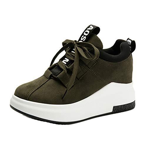 Zapatos Casuales de cuña para Mujer Transpirables Antideslizantes de Corte bajo con Cordones Zapatillas Deportivas para Mujer Zapatillas Ligeras con Plataforma para Correr