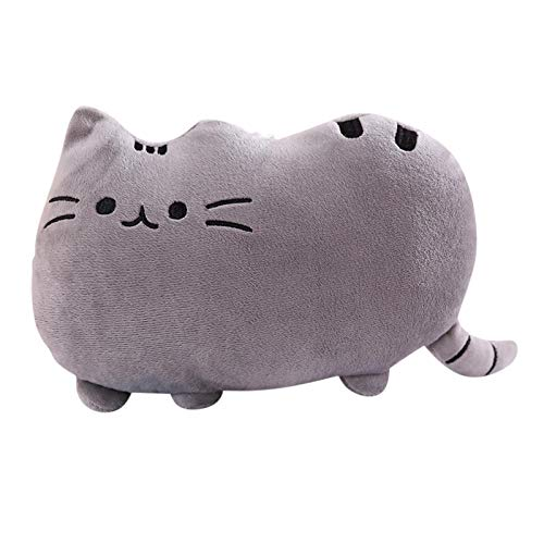 Stuffed Animals Dolls Toys,Cute Cat Shape Pillow Lumbar Back Cushion Birthday Ornaments Gift For Adults And Children, Soft and Safe (Gray)