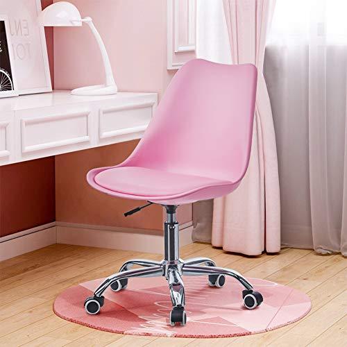 TUKAILAI Justerbar svängbar skrivbordsstol med hjul dator kontor stol uppgift stol reception stol för hemmakontor arbetsrum rosa