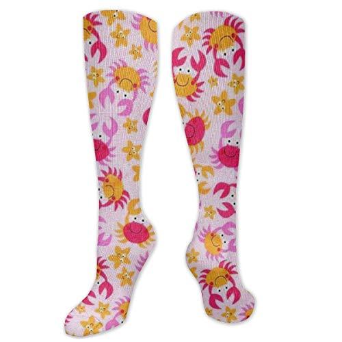 MISS-YAN Lustige nette Krabbe-Socken für Männer und Frauen Lustiges verrücktes Rennen Sport Trel Sport Over The Calf Socken