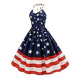 Amosfun Drapeau Américain Robe Vintage Étoiles Rayé Imprimé Jupe de Soirée Robes de Soirée Bal Balançoire Robe Vêtements pour Le Jour de L'indépendance (Taille M)