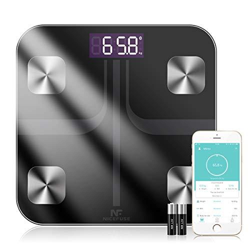 Bilancia Pesa Persona Digitale, NICEFUSE Bilancia Smart Bilance Pesapersona Digitali 11 Funzioni Analisi Composizione Corporea Massa Grassa BMI Grasso Viscerale per Dispositivi iOS e Android