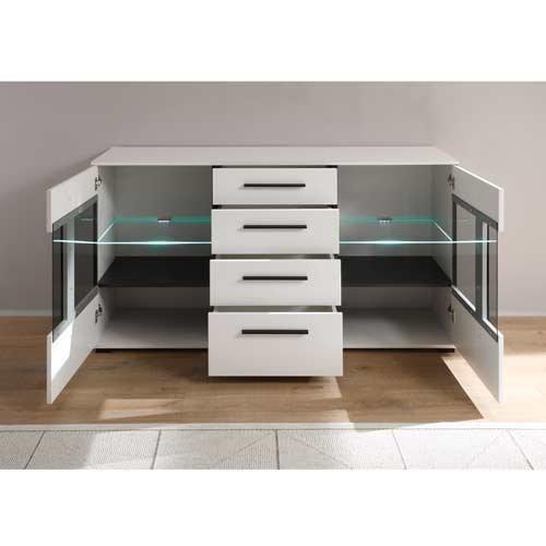 Wohnwand in weiß mit Hochglanz Tiefziefronten und Grauglas, Soft-Close Schubkästen, Gesamtmaße: B/H/T ca. 350 (330)/200/37-42 cm - 6