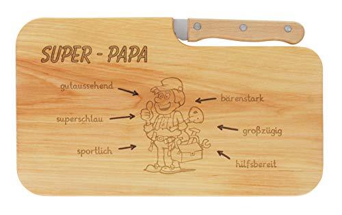LASERHELD Brotzeitbrett Holz Erle Messer Super-Papa Geschenk Männer, Schneidbrett Holz, Geschenkidee für Ihn