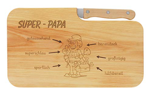 meinbecher Brotzeitbrett Holz Erle Messer Super-Papa Geschenk Männer, Schneidbrett Holz, Geschenkidee für Ihn